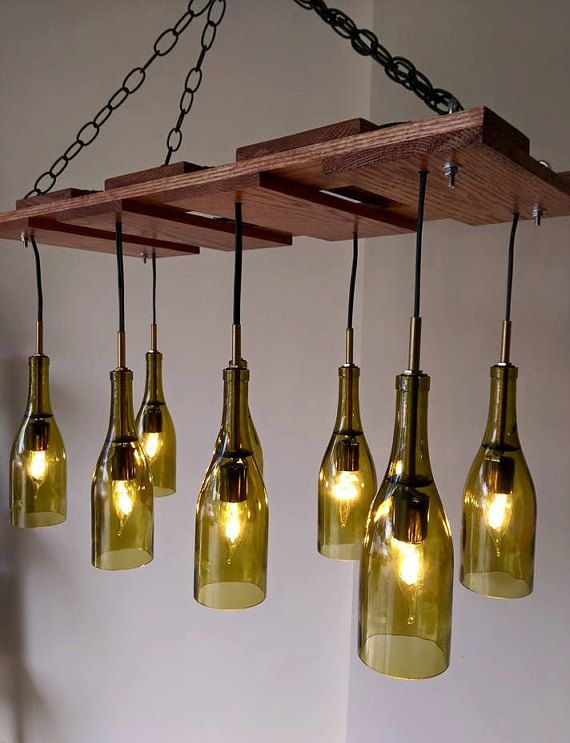 Repurposed Wine Bottle Seven Pendant Chandelier Wood Frame Hanging Lamp |  Wine bottle crafts | Pinterest | Pendant chandelier, Repurposed and  Chandeliers