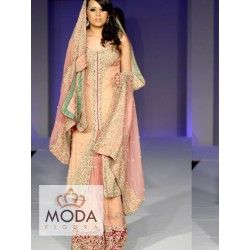 Blush pink or pinkish peach front open jacket with sharara or lehenga