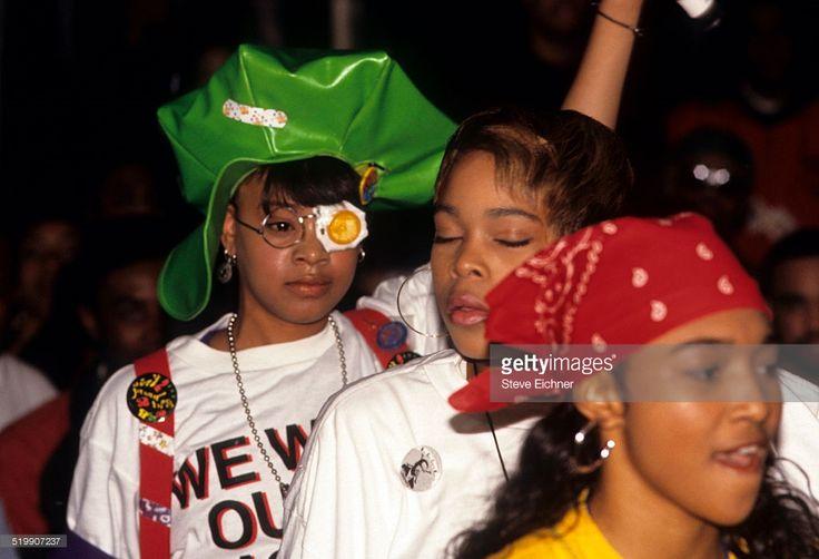 Tionne 'T-Boz' Watkins, Rozonda 'Chilli' Thomas, and Lisa 'Left Eye' Lopes of TLC at Gold record presentation, New York, April 15, 1992.