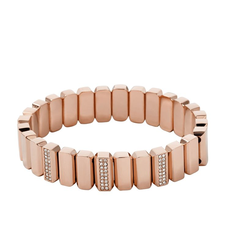 Fossil Armband Metal Bead Stretch Rosegold JA6670791
