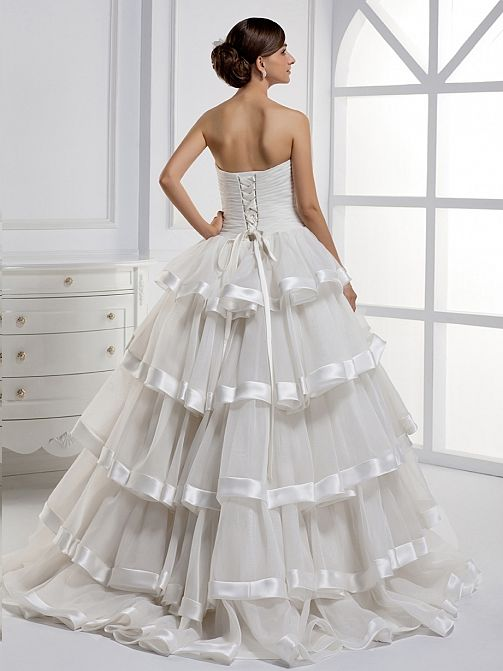 New arrival Strapless organza with multilayer bridal gown,Style No.0bg01451,US$372.00