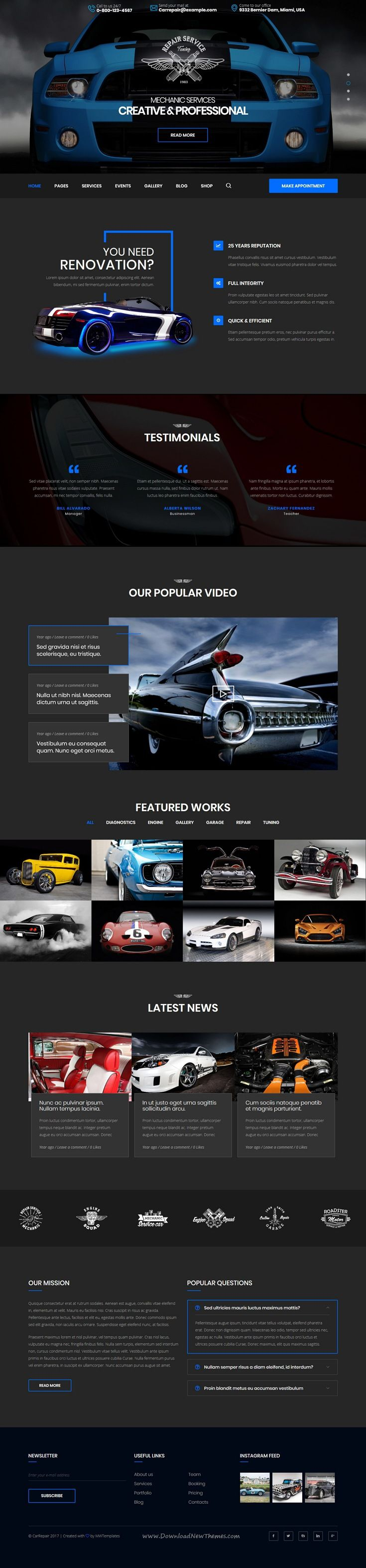 CarRepair is clean and modern design responsive #WordPress theme for auto / #car services and #workshops professional website download now..