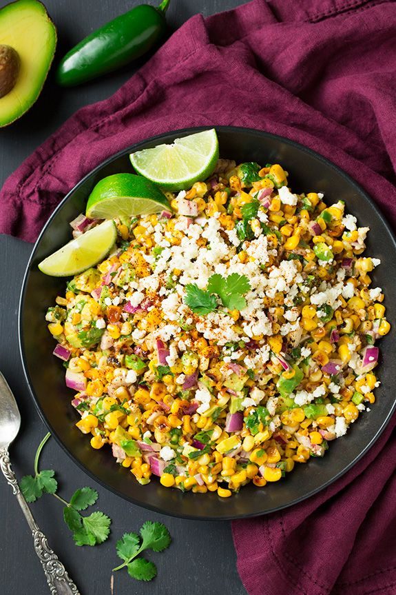 Mexican Street Corn Salad with Avocado by cookingclassy #Salad #Corn #Avocado #Cotija_Cheese #Onion #Garlic #Cilantro #Lime #Chili_Powder #Mayo #Mexican