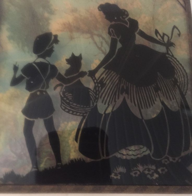 Vintage Foil Painting Silhouette On Glass