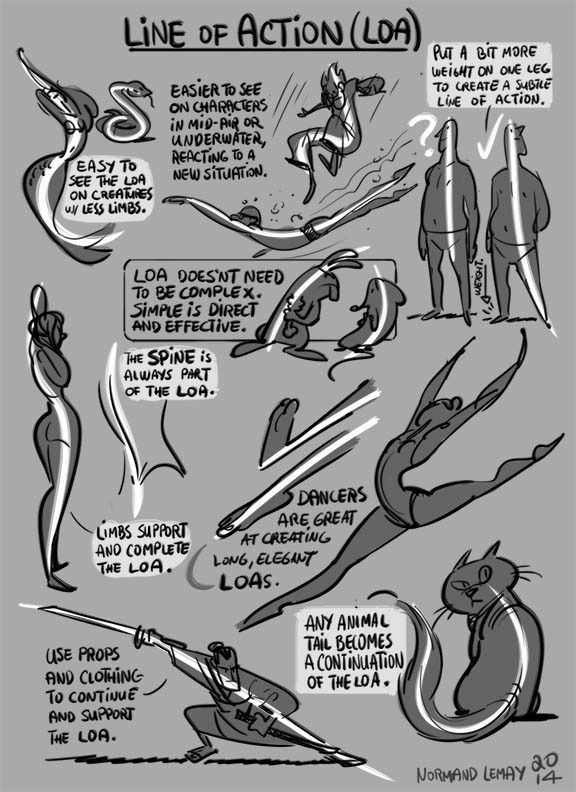 Tuesday Tips - LINE OF ACTION The line of action doesn't necessarily need to be drawn in. As long as you think about it while drawing, your gesture or posing will be stronger. It gives a direction to...