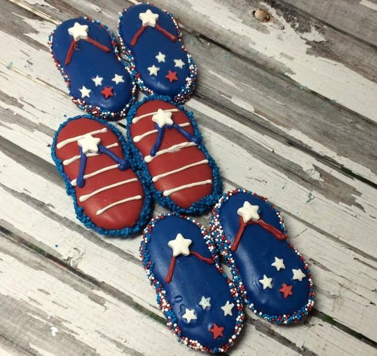 1 dozen Nutter Butter 4th Fourth of July Flip Flops Chocolate Covered Oreo Party Favors Sweets Table Corporate Baby Shower Birthday Party