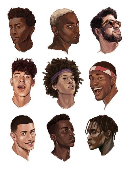 si je fais un ptit gars de couleur, les cheveux au milieu à gauche en plus frisé…