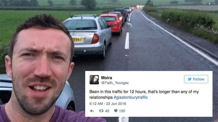 Glastonbury festival-goers are losing their minds over the 12-hour traffic queues