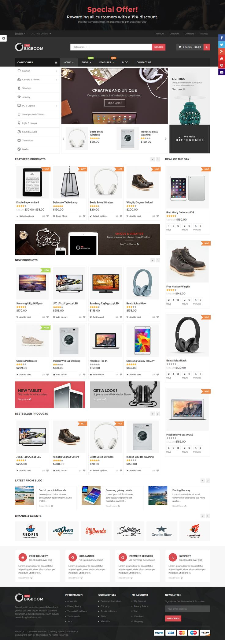 Bigboom is a professional and powerful WooCommerce Wordpress shopping theme for WordPress #webdesign Download: http://themeforest.net/item/bigboom-responsive-ecommerce-wordpress-theme/11099397?ref=ksioks
