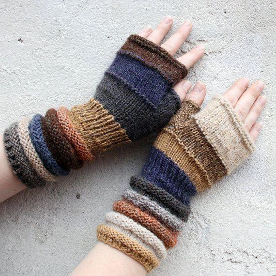 Unmatched Hand Knit Fingerless Mittens hand door WrapturebyInese