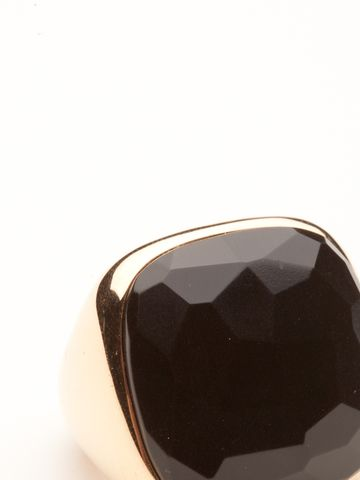 This bold statement ring can't be beat. The feature is an asymmetrical cut black jet.  It is set in 18kt rose gold giving it a softer look.  Size 52 or approximately 6.25.