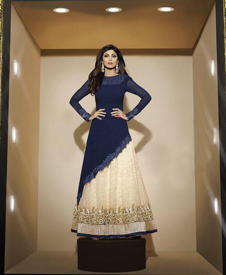 Shilpa Shetty Blue Georgette Long Anarkali Suit 65844
