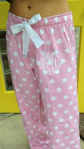 Monogramed Flannel Polka Dot Sleep Pants - Two Friends
