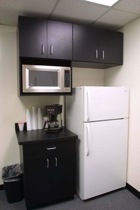 Small break room area salon pinterest kitchenettes be cool and cabinets - Small space microwave photos ...