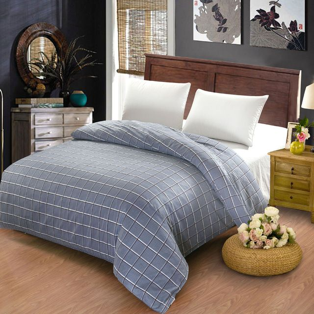 100% cotton duvet cover twin full queen size gray striped grid cartoon red plaid gray quilt case red duvet covers super kingsize