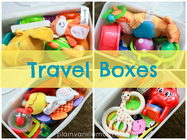 Travel Boxes - repurpose baby wipe containers with old toys to stay in the car -- no more lugging toys back and forth!!