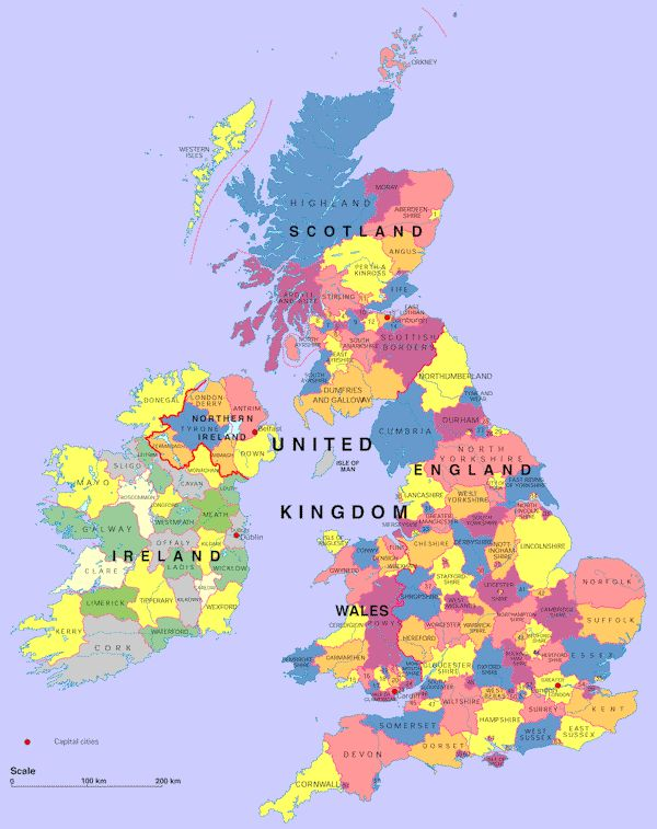 Map Of UK And Ireland | Map of UK Counties in Great Britain, Northern Ireland, and in addition ...