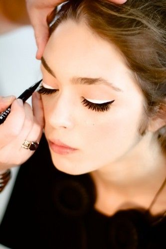 Behind the scenes at Alice + Olivia. Photos by Mullane Stanbury.Eye Makeup, Cat Eye, Black And White, Black White, Liquid Liner, Black Eyeliner, White Eyeliner, Eye Liner, Alice Olivia