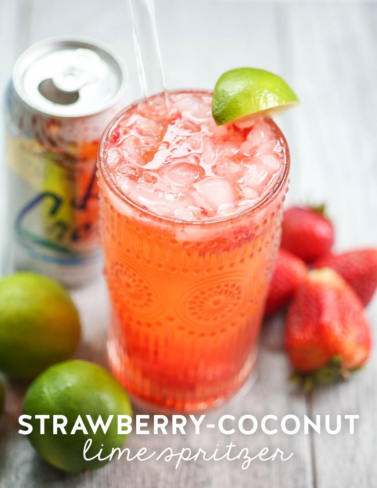 This strawberry coconut lime spritzer is the perfect way to dress up flavored seltzer water--just add fresh strawberries, coconut seltzer, and lime wedges!