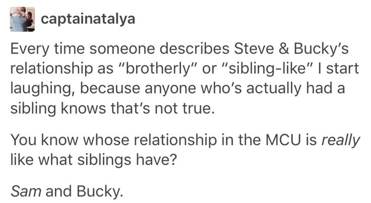 Sam & Bucky are my broTP but Stucky is the true OTP --- OMFG THIS IS THE BEST ARGUMENT FOR STUCKY IVE EVER HEARD YES