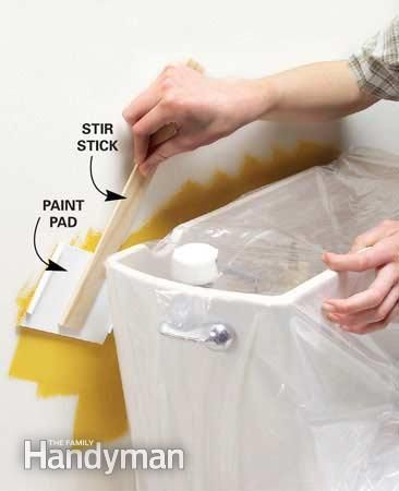 Long reach paint pad keeps tight spots neat. - If you have a tight spot to paint, remove the pad from a paint edging tool (about $2 at home centers). Hot-glue the pad to a stir stick, and youve got a painting tool that will fit behind toilet tanks and radiators.