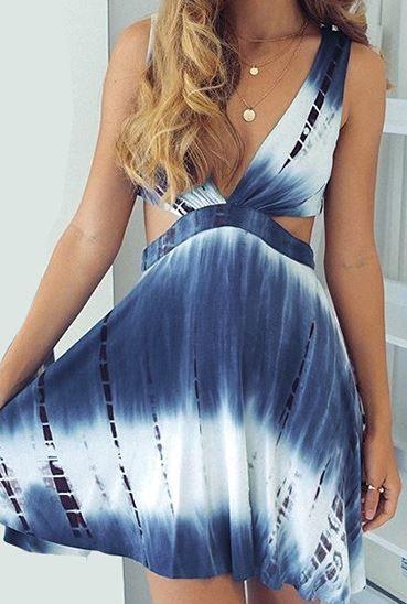 Tie-Dye Plunge Cutout Dress - Trendslove