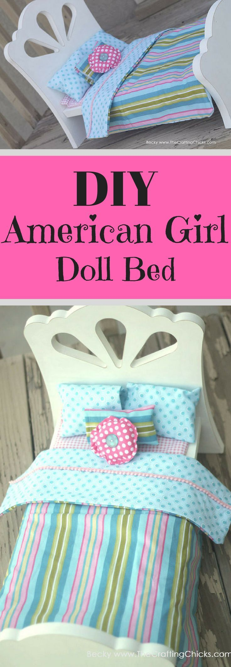 What an adorable bed for American Girl Dolls! DIY American Girl Doll Bed - Fit Most 18 Inch Dolls #ad #afflink #diy #americangirl