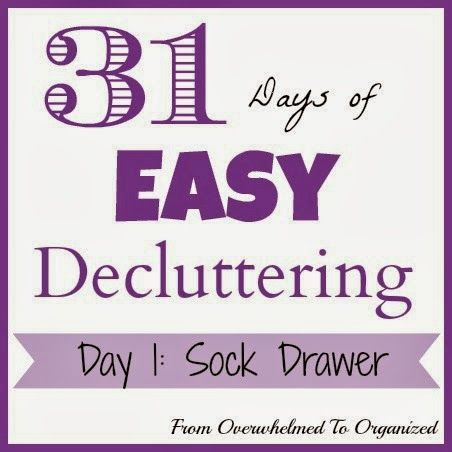 From Overwhelmed to Organized: Day 1: Sock Drawer {31 Days of Easy Decluttering} #31DaysEasyDecluttering