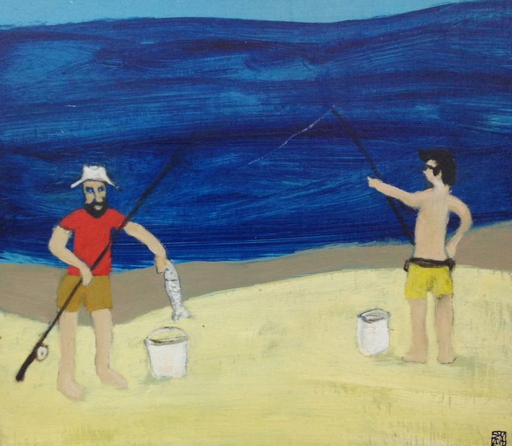 Mates Fishing on Frazer - oil on board - (27 x 24 cm) sold