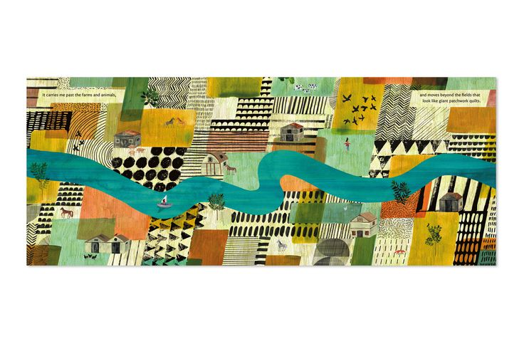 "I love how Marc Martin works pattern into his book illustration ""it carries me past the farms and animals, and moves beyond the fields that looks like giant patchwork quilts"""