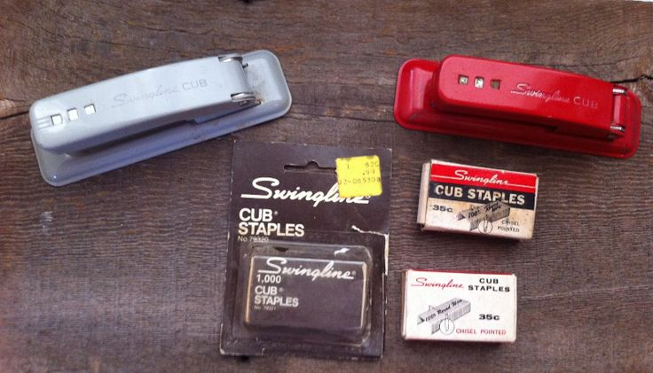2 vintage Cub Swingline Staplers Grey Red plus 3 Boxes of Cub Staples?. Staplers still work! Normal to little surface wear on them. Boxes of staples: One box has a few staples left in it; another is about half full; one is in packaging that is ...