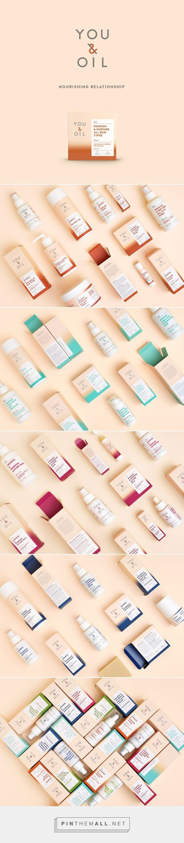 """Branding, graphic design and packaging for YOU & OIL natural cosmetics targeting Millennials on Behance curated by Packaging Diva PD. New design and logo for natural cosmetics """"You & Oil"""", created after brand strategy proposed by """"Black Swan Brands""""."""