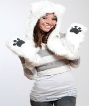 Polar Bear Full Animal Hood Hoddie Hat Faux Fur 3 In 1 Function