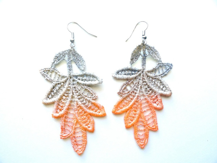 Lace Earrings Orange and Gray Ombre Leaves - Hand Painted Customizable Colors. $20.00, via Etsy.
