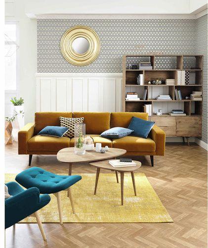 divano-giallo-senape-in-velluto-4-posti-clark-maison du monde - velvet