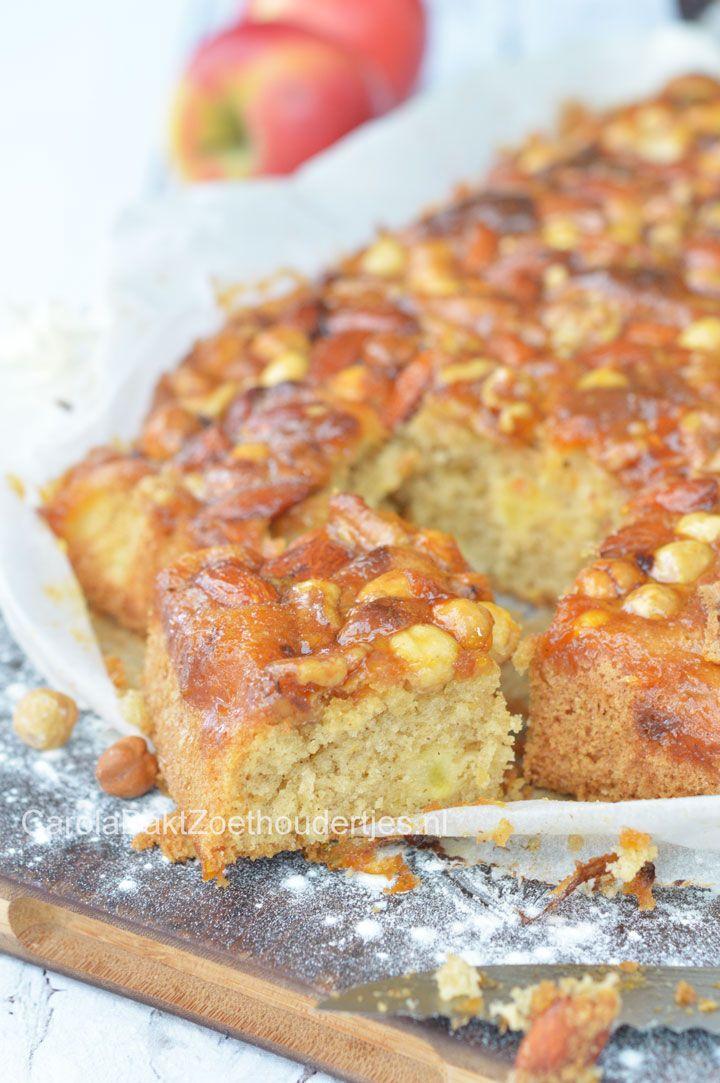 Plaatcake met appel, nootjes en dulce de leche (karamel)