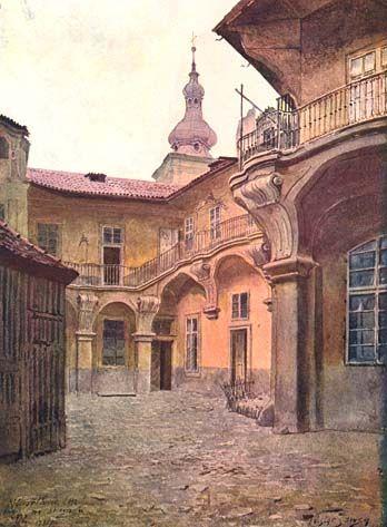 Nádvoří domu U zlaté hvězdy čp. 932-I. Tento dům stával do r. 1899 na Staroměstském náměstí. Na jeho místě byl vystavěn nový palác pojišťovny. V pozadí věž kostela sv. Salvátora