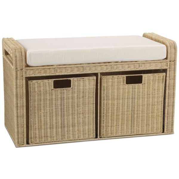 Household Essentials Cushioned Storage Bench (£200) ❤ liked on Polyvore featuring home, furniture, benches, rattan, rattan storage bench, padded bench, padded storage bench, shoe furniture and shoes storage bench