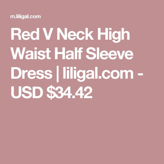 Red V Neck High Waist Half Sleeve Dress   liligal.com - USD $34.42
