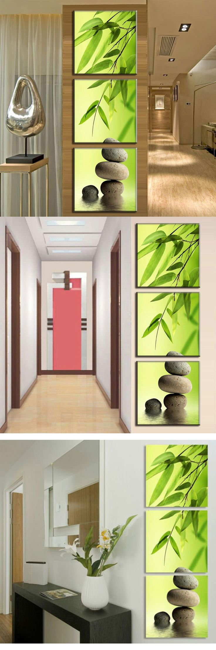 3 Panel Modern Wall Art Painting With Bamboo And Stone Home Decorative Oil  Painting On Canvas For Living Room Entrance