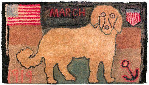 61: American patriotic hooked rug dated 1919, depic : Lot 61