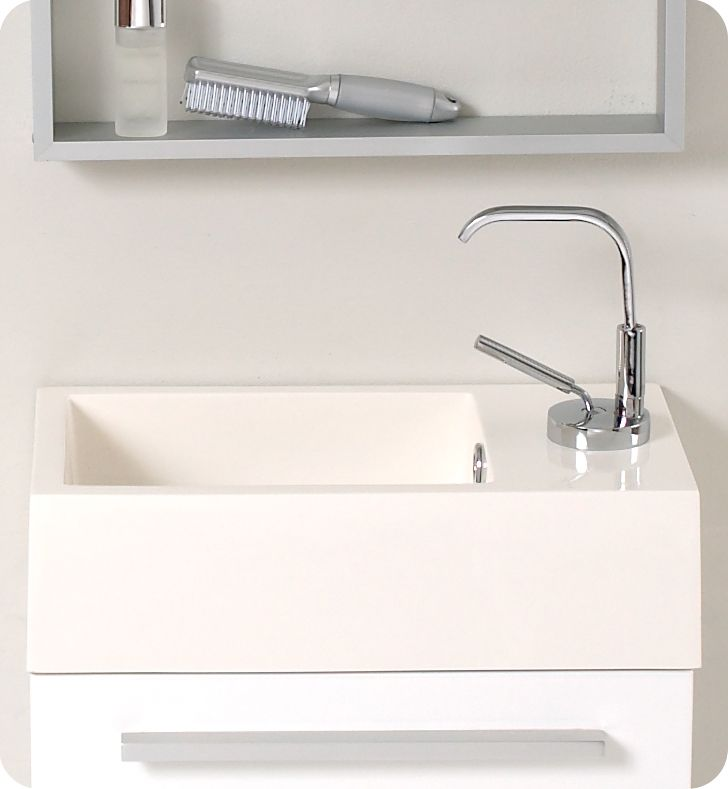 Fresca Pulito Small White Modern Bathroom Vanity, Soft Closing Door, Single  Hole Faucet Mount, Complimented With An Extra Long Vertical Mirror