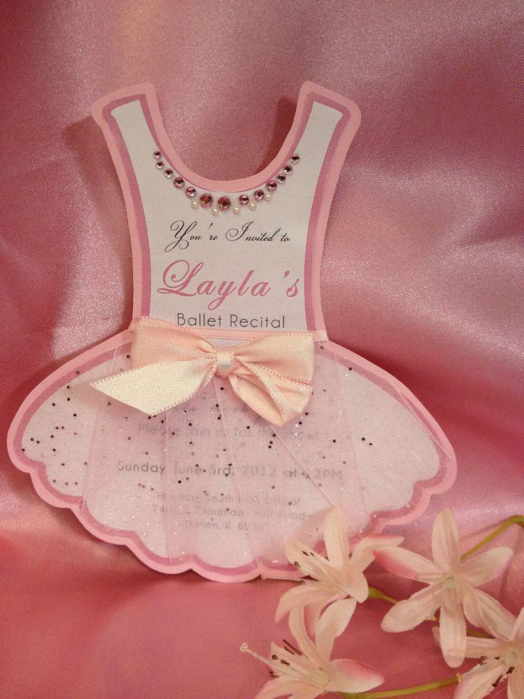 Large Ballerina TuTu Birthday Invite or Ballet Recital Invitation w/Rhinestones & Tulle