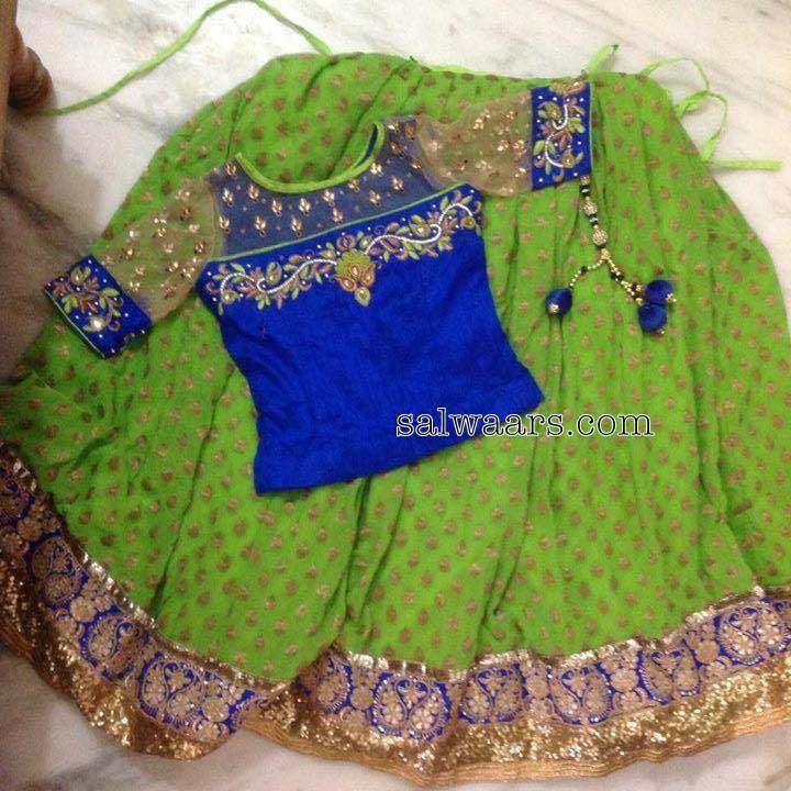 Green Printed Lehenga Elbow Blouse - Indian Dresses