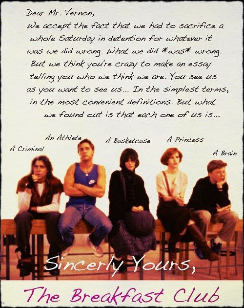 'The Breakfast Club' letter - one of my favourite 80s films