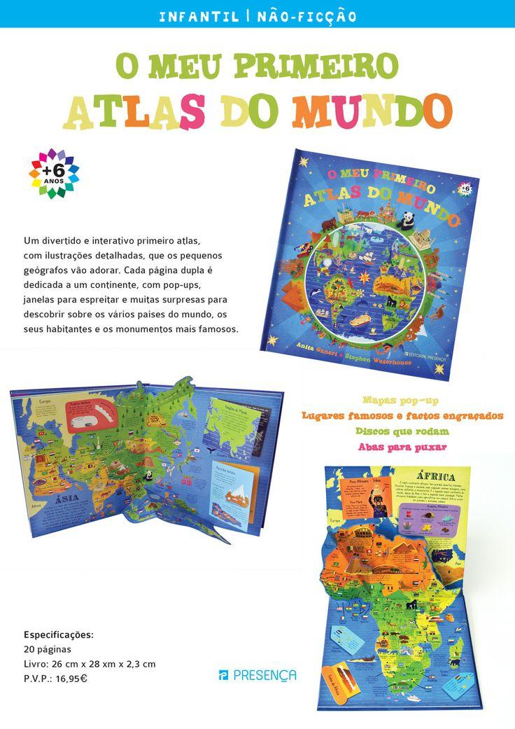 Explora o mundo neste atlas interativo. Aqui encontrarás magníficos mapas pop-up e lugares famosos e factos engraçados apresentados em discos que rodam, figuras que se levantam e fichas que se puxam. Um divertido primeiro atlas com ilustrações que os pequenos geógrafos vão adorar. Recomendado a partir dos 6 anos.  http://www.presenca.pt/livro/o-meu-primeiro-atlas-do-mundo/
