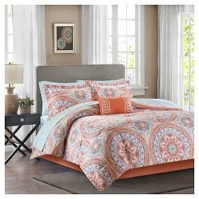 For a modern update to your space, the Nepal Comforter Set with Sheet Set can provide a whole new look with bold colors. An intricate medallion pattern repeats across the top of bed. An oblong pillow uses decorative embroidery and piecing to create texture on the top of bed, while 180 thread count cotton sheets feature a medallion print to complete this look.