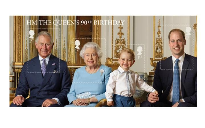 Prince George is appearing on his first stamp after a secret photo shoot captured the Queen and her three direct heirs to commemorate Her Majesty's 90th birthday.
