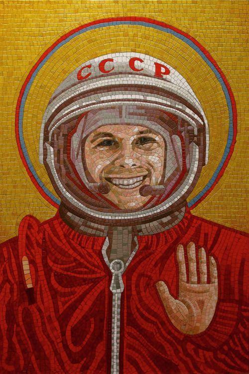 Yuri Gagarin, a Russian cosmonaut, the first human in space. Mosaic panel