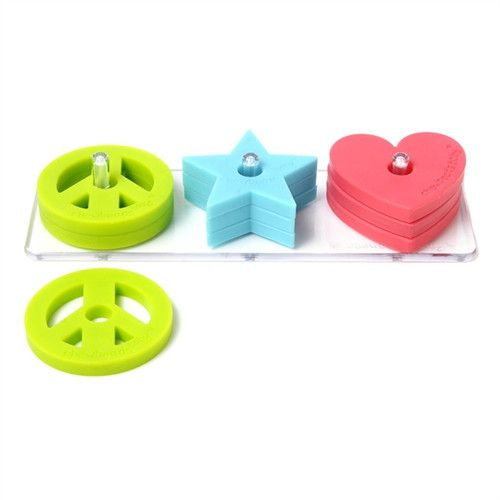 Chewbeads Stack & Play Set 00% silicone stack and play toy.  Soft and flexible shapes are safe for babies to sort, stack, and chew.  Sorting and stacking shapes help babies with fine motor skills, han